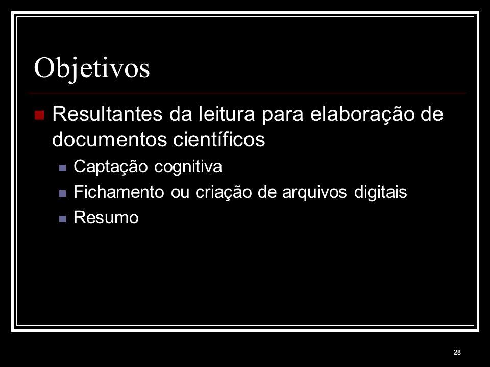 28 Objetivos Resultantes da leitura para elaboração de documentos científicos Captação cognitiva Fichamento ou criação de arquivos digitais Resumo