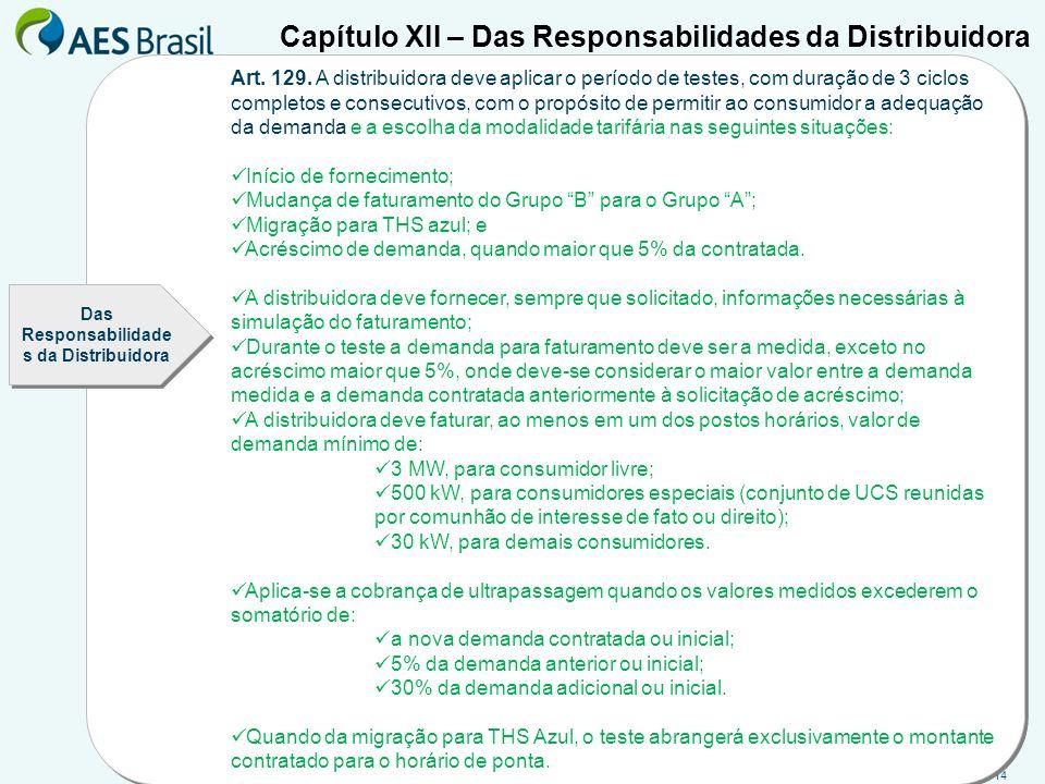 14 Capítulo XII – Das Responsabilidades da Distribuidora Art. 129. A distribuidora deve aplicar o período de testes, com duração de 3 ciclos completos