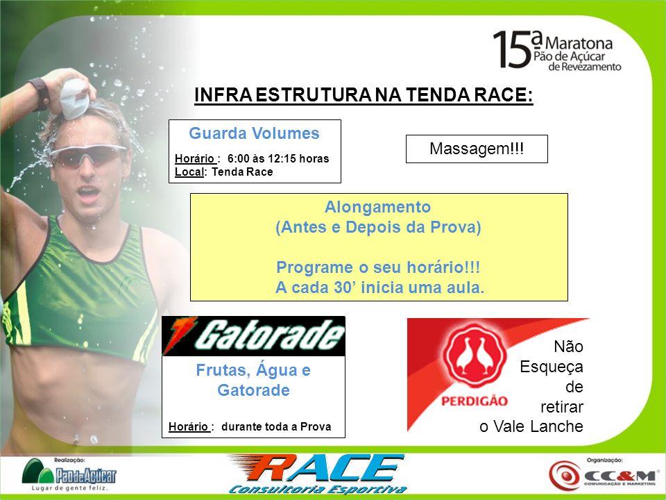INFRA ESTRUTURA NA TENDA RACE: Guarda Volumes Horário : 6:00 às 12:15 horas Local: Tenda Race Massagem!!! Frutas, Água e Gatorade Horário : durante to