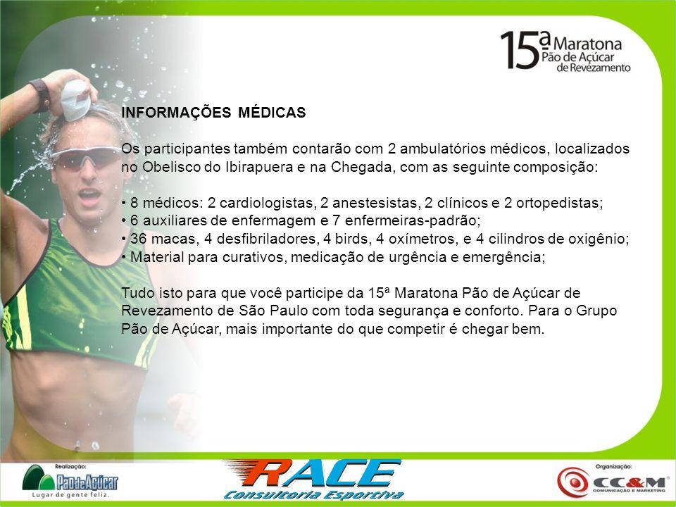 INFORMAÇÕES MÉDICAS Os participantes também contarão com 2 ambulatórios médicos, localizados no Obelisco do Ibirapuera e na Chegada, com as seguinte c