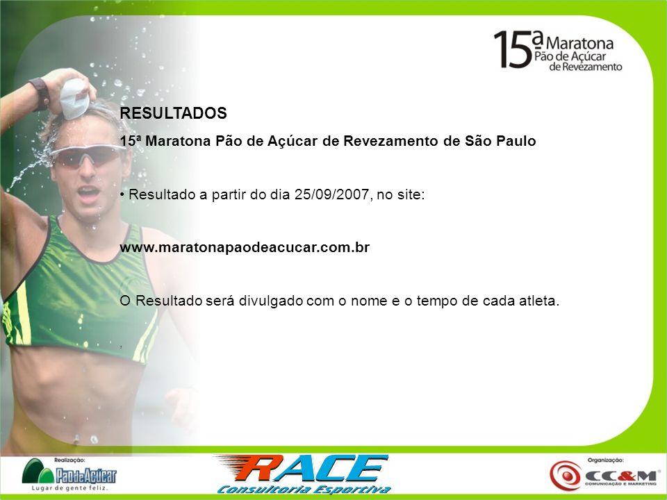RESULTADOS 15ª Maratona Pão de Açúcar de Revezamento de São Paulo Resultado a partir do dia 25/09/2007, no site: www.maratonapaodeacucar.com.br O Resu