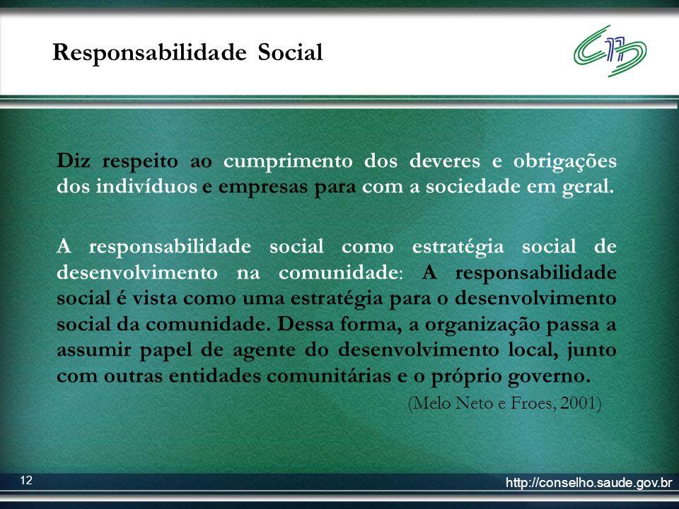 http://conselho.saude.gov.br 12 Responsabilidade Social Diz respeito ao cumprimento dos deveres e obrigações dos indivíduos e empresas para com a soci