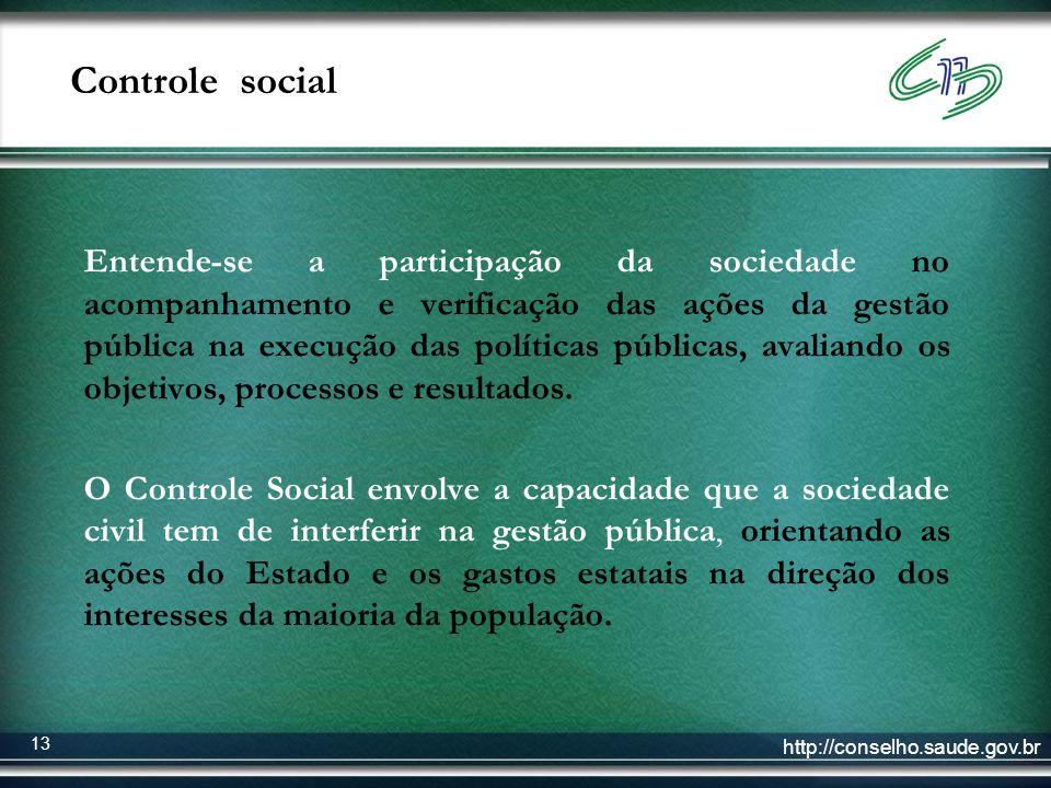 http://conselho.saude.gov.br 13 Controle social Entende-se a participação da sociedade no acompanhamento e verificação das ações da gestão pública na