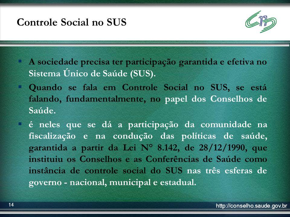 http://conselho.saude.gov.br 14 Controle Social no SUS A sociedade precisa ter participação garantida e efetiva no Sistema Único de Saúde (SUS). Quand