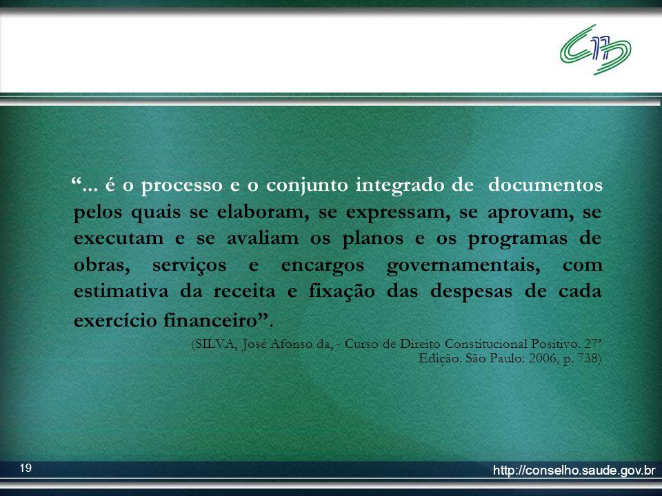 http://conselho.saude.gov.br 19... é o processo e o conjunto integrado de documentos pelos quais se elaboram, se expressam, se aprovam, se executam e