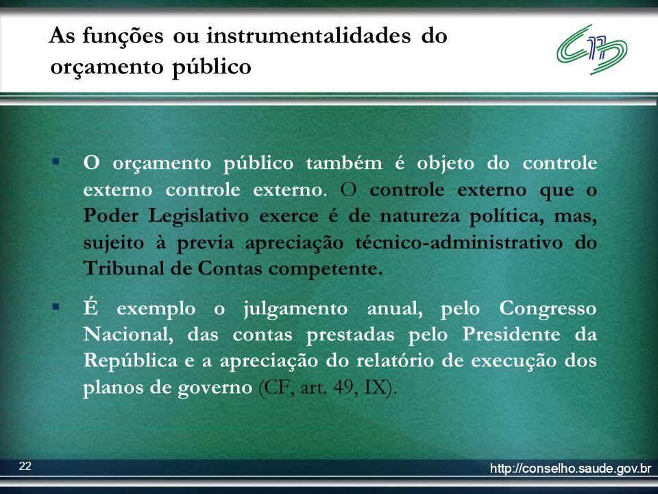 http://conselho.saude.gov.br 22 As funções ou instrumentalidades do orçamento público O orçamento público também é objeto do controle externo controle