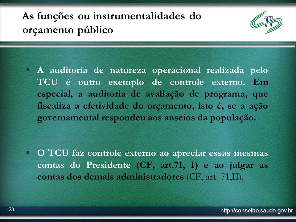 http://conselho.saude.gov.br 23 As funções ou instrumentalidades do orçamento público A auditoria de natureza operacional realizada pelo TCU é outro e