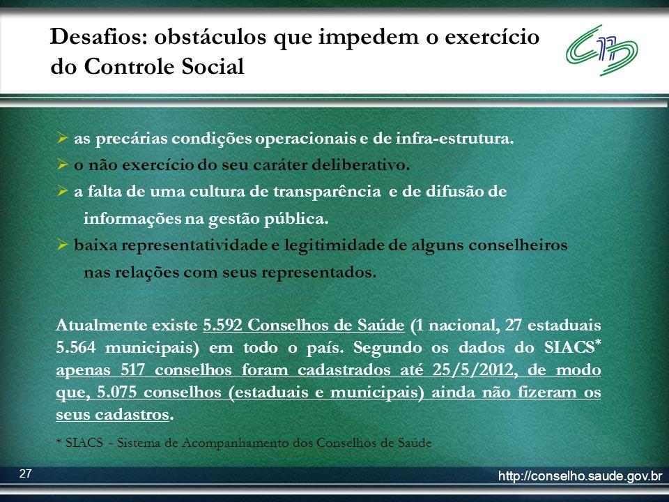 http://conselho.saude.gov.br 27 Desafios: obstáculos que impedem o exercício do Controle Social as precárias condições operacionais e de infra-estrutu