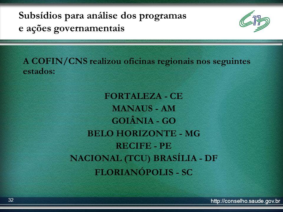 http://conselho.saude.gov.br 32 Subsídios para análise dos programas e ações governamentais A COFIN/CNS realizou oficinas regionais nos seguintes esta
