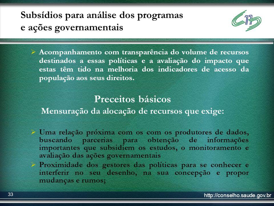 http://conselho.saude.gov.br 33 Subsídios para análise dos programas e ações governamentais Acompanhamento com transparência do volume de recursos des