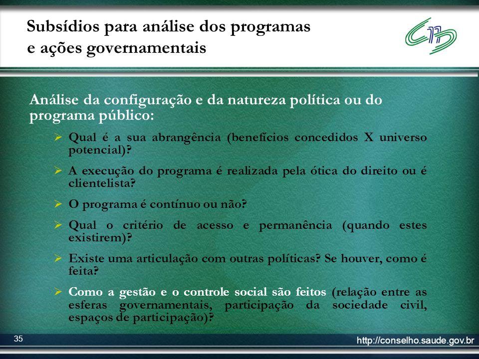 http://conselho.saude.gov.br 35 Subsídios para análise dos programas e ações governamentais Análise da configuração e da natureza política ou do progr
