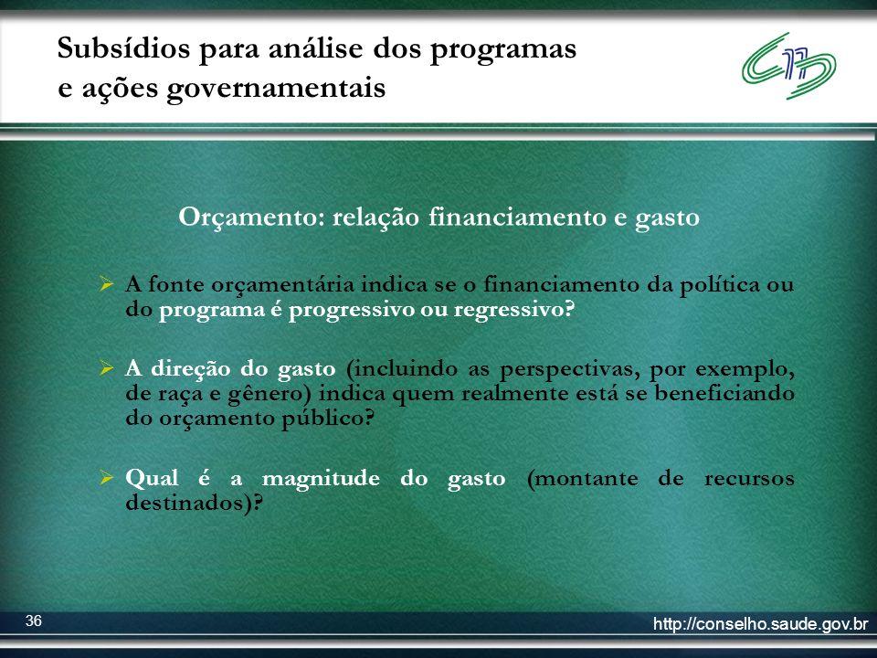 http://conselho.saude.gov.br 36 Subsídios para análise dos programas e ações governamentais Orçamento: relação financiamento e gasto A fonte orçamentá