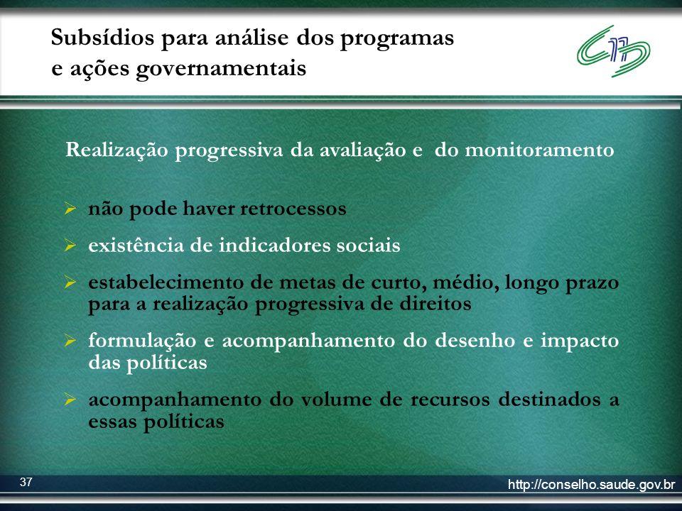 http://conselho.saude.gov.br 37 Subsídios para análise dos programas e ações governamentais não pode haver retrocessos existência de indicadores socia