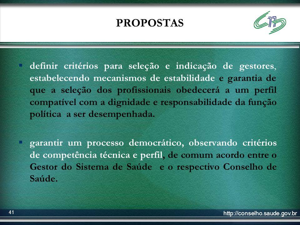 http://conselho.saude.gov.br 41 PROPOSTAS definir critérios para seleção e indicação de gestores, estabelecendo mecanismos de estabilidade e garantia