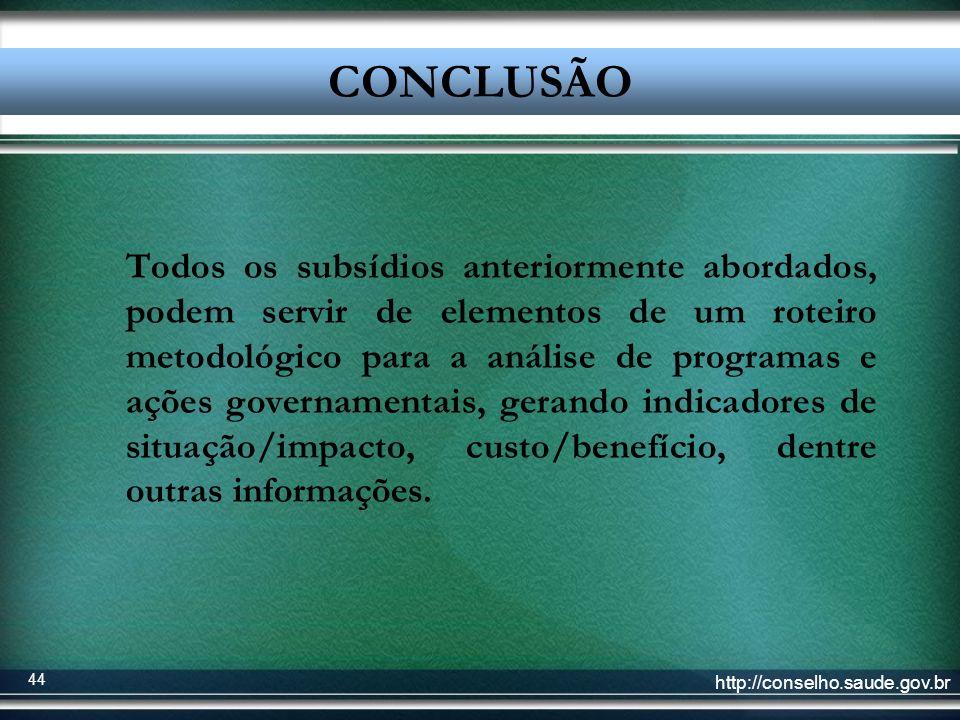 http://conselho.saude.gov.br 44 Conclusão Todos os subsídios anteriormente abordados, podem servir de elementos de um roteiro metodológico para a anál