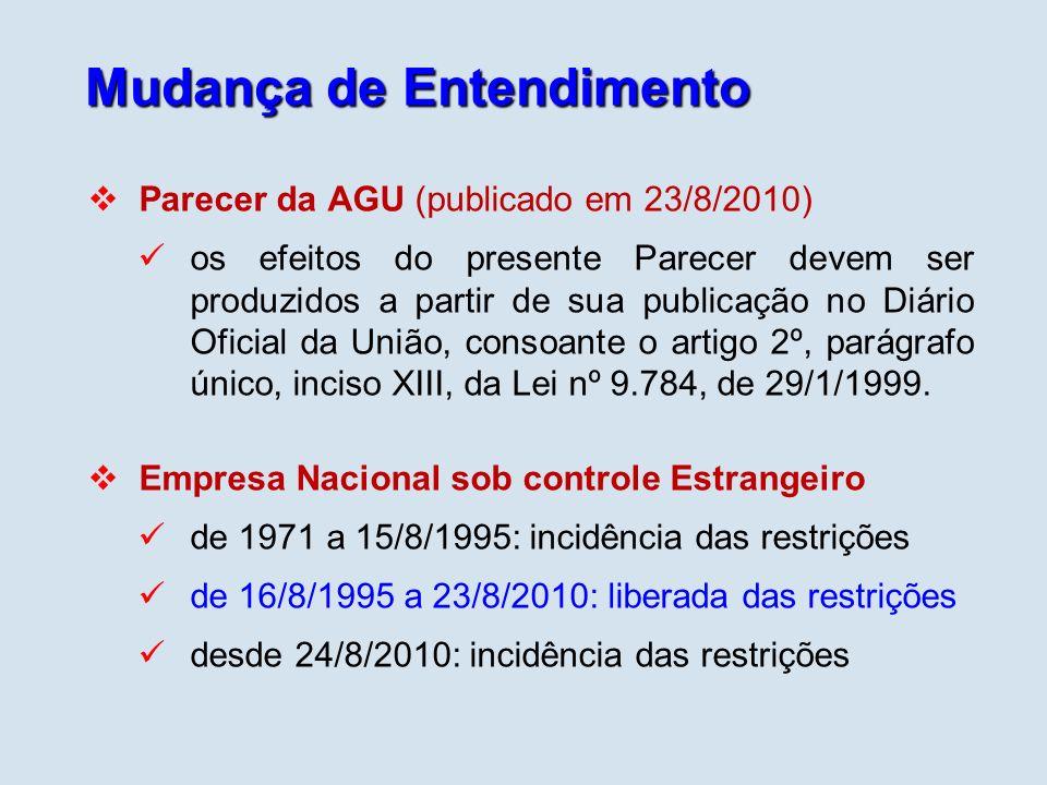 Mudança de Entendimento Parecer da AGU (publicado em 23/8/2010) os efeitos do presente Parecer devem ser produzidos a partir de sua publicação no Diár