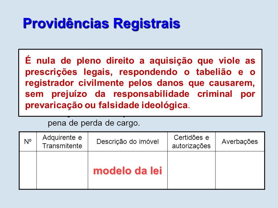 Providências Registrais Caberá ao Registro de Imóveis: após o registro na matrícula (constitutivo do direito real), efetuar o registro no livro auxili