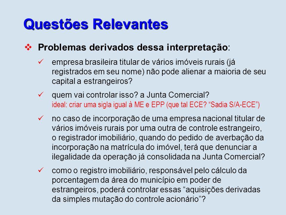 Questões Relevantes Problemas derivados dessa interpretação: empresa brasileira titular de vários imóveis rurais (já registrados em seu nome) não pode