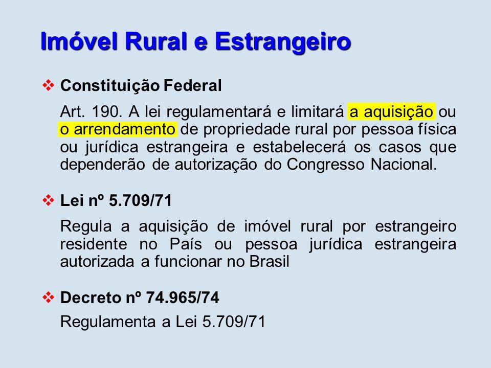 Imóvel Rural e Estrangeiro Constituição Federal Art. 190. A lei regulamentará e limitará a aquisição ou o arrendamento de propriedade rural por pessoa