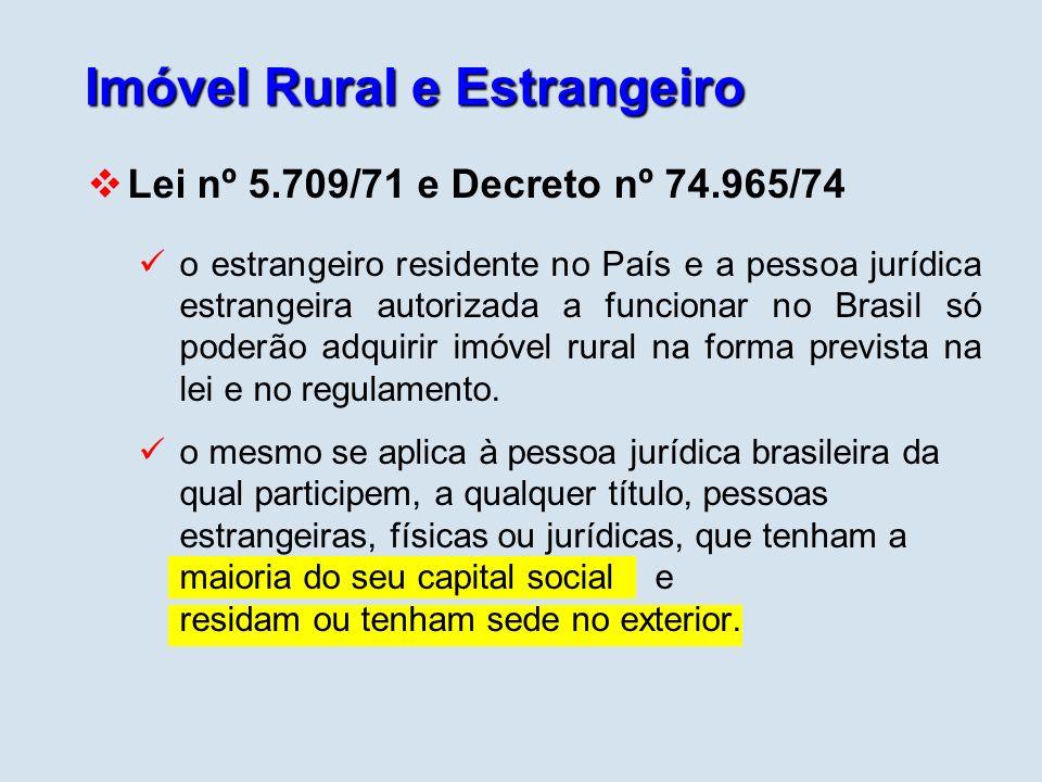 Imóvel Rural e Estrangeiro Lei nº 5.709/71 e Decreto nº 74.965/74 o estrangeiro residente no País e a pessoa jurídica estrangeira autorizada a funcion