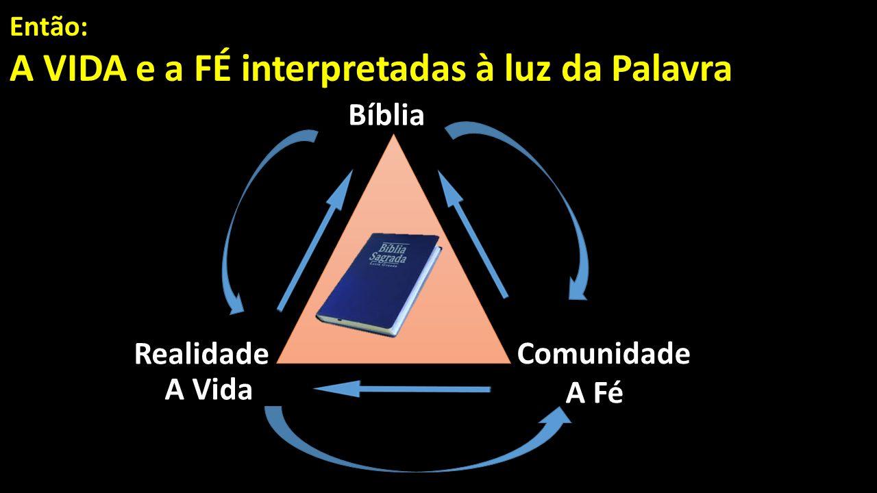Então: A VIDA e a FÉ interpretadas à luz da Palavra A Vida Bíblia Realidade A Fé Comunidade