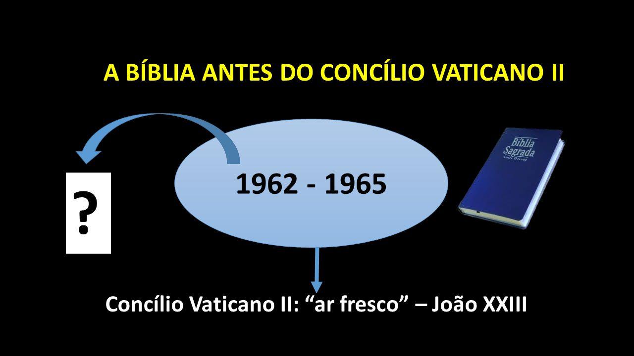 A BÍBLIA ANTES DO CONCÍLIO VATICANO II 1962 - 1965 Concílio Vaticano II: ar fresco – João XXIII ?
