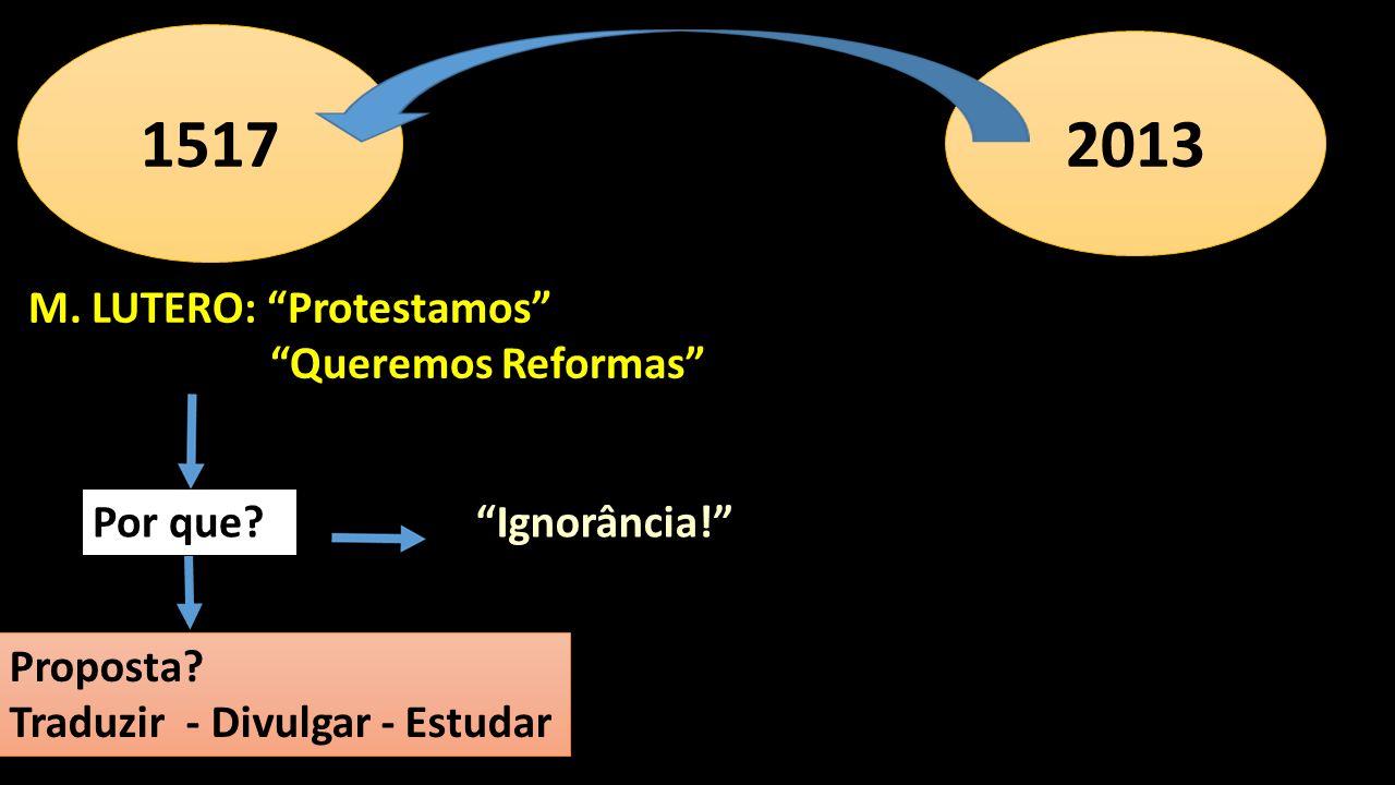 M. LUTERO: Protestamos Queremos Reformas 1517 Proposta? Traduzir - Divulgar - Estudar Por que? 2013 Ignorância!