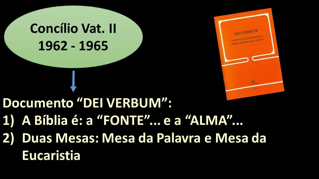Documento DEI VERBUM: 1)A Bíblia é: a FONTE... e a ALMA... 2)Duas Mesas: Mesa da Palavra e Mesa da Eucaristia Concílio Vat. II 1962 - 1965