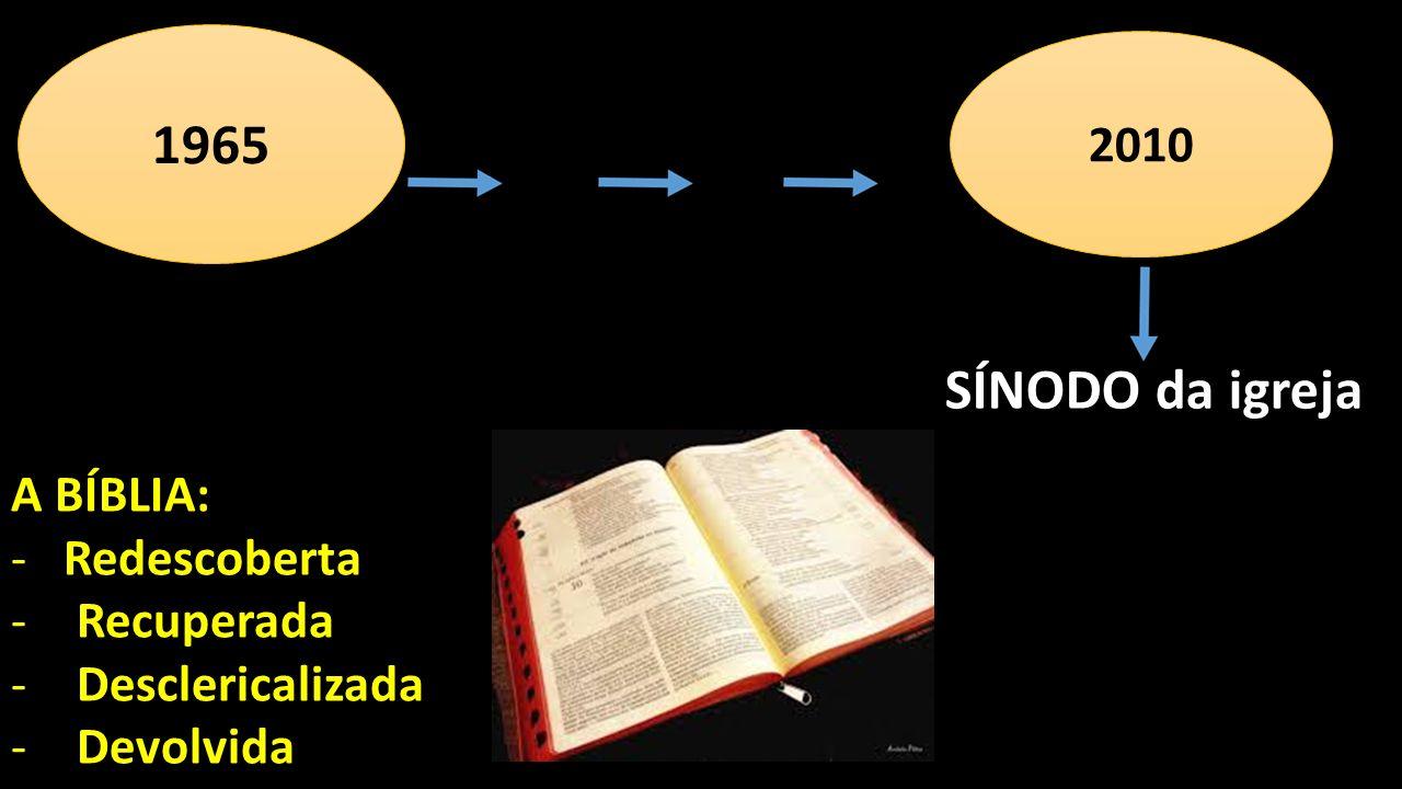 A BÍBLIA: -Redescoberta -Recuperada -Desclericalizada -Devolvida 1965 2010 SÍNODO da igreja