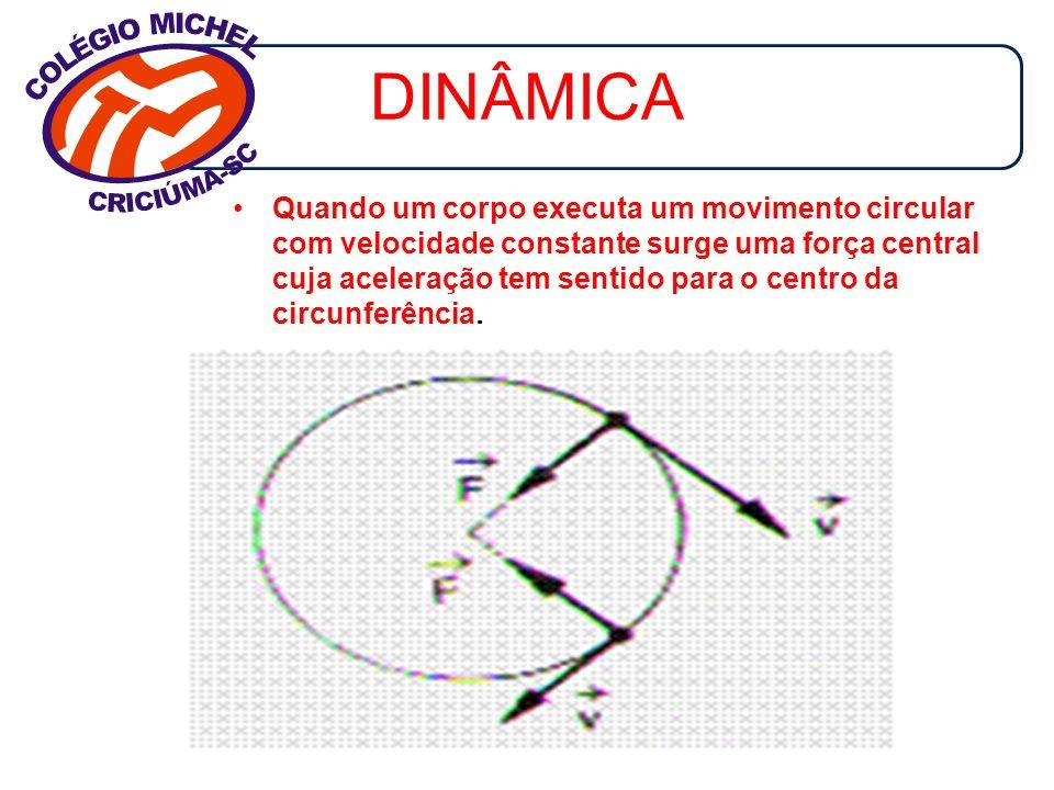 DINÂMICA Quando um corpo executa um movimento circular com velocidade constante surge uma força central cuja aceleração tem sentido para o centro da c