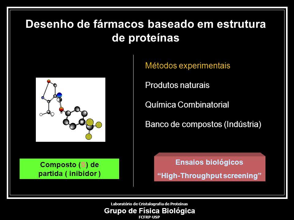 Desenho de fármacos baseado em estrutura de proteínas Composto (S) de partida ( inibidor ) Métodos experimentais Produtos naturais Química Combinatori
