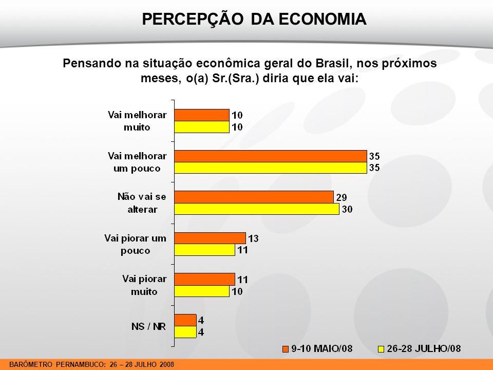 BARÔMETRO PERNAMBUCO: 26 – 28 JULHO 2008 Pensando na situação econômica geral do Brasil, nos próximos meses, o(a) Sr.(Sra.) diria que ela vai: PERCEPÇÃO DA ECONOMIA