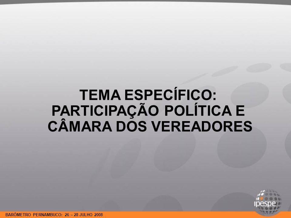 BARÔMETRO PERNAMBUCO: 26 – 28 JULHO 2008 TEMA ESPECÍFICO: PARTICIPAÇÃO POLÍTICA E CÂMARA DOS VEREADORES
