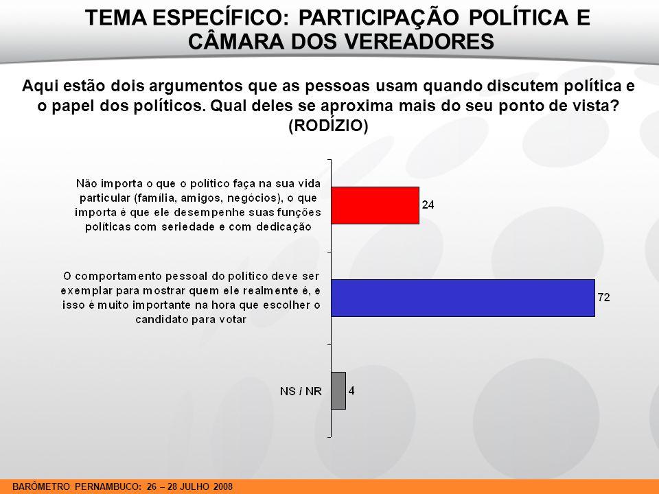 BARÔMETRO PERNAMBUCO: 26 – 28 JULHO 2008 Aqui estão dois argumentos que as pessoas usam quando discutem política e o papel dos políticos.