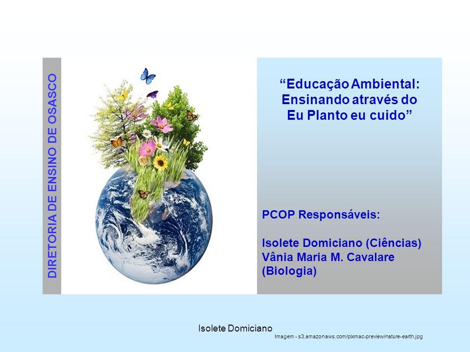 Isolete Domiciano Educação Ambiental: Ensinando através do Eu Planto eu cuido PCOP Responsáveis: Isolete Domiciano (Ciências) Vânia Maria M. Cavalare