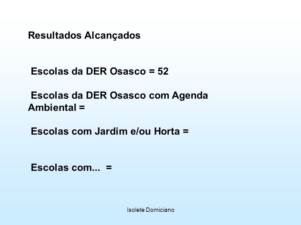 Isolete Domiciano Resultados Alcançados Escolas da DER Osasco = 52 Escolas da DER Osasco com Agenda Ambiental = Escolas com Jardim e/ou Horta = Escola