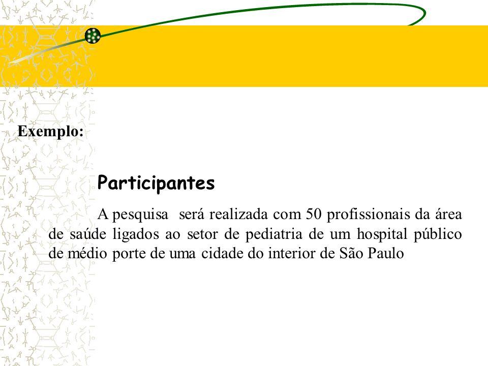 Participantes: quem será o objeto de pesquisa ( Com quem ?) Material: com o que os sujeitos serão avaliados ( Com que ? ) Procedimentos: como os sujei