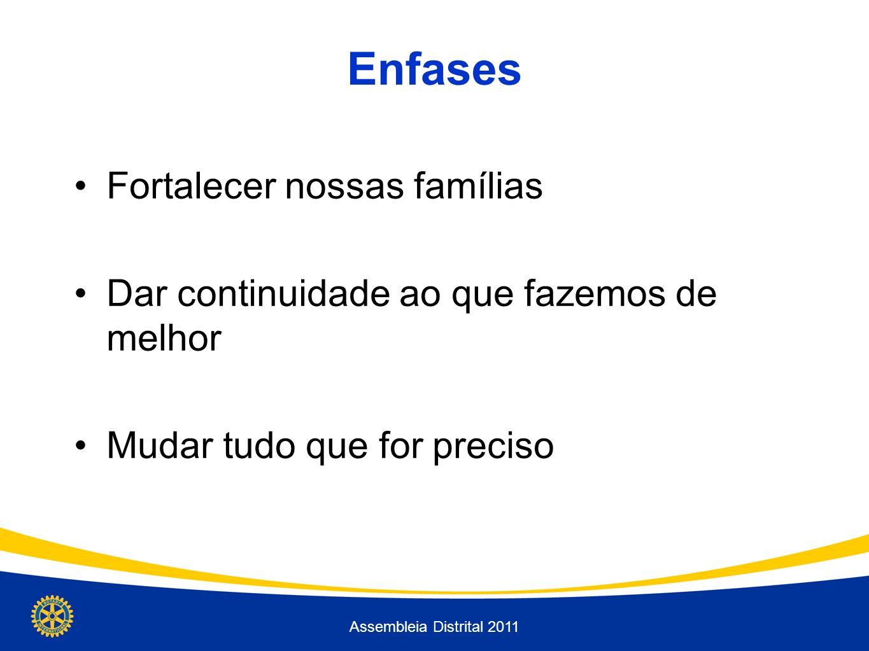Enfases Fortalecer nossas famílias Dar continuidade ao que fazemos de melhor Mudar tudo que for preciso Assembleia Distrital 2011