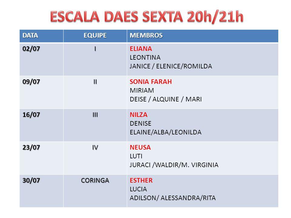 DATAEQUIPEMEMBROS02/07IELIANA LEONTINA JANICE / ELENICE/ROMILDA 09/07IISONIA FARAH MIRIAM DEISE / ALQUINE / MARI 16/07IIINILZA DENISE ELAINE/ALBA/LEON