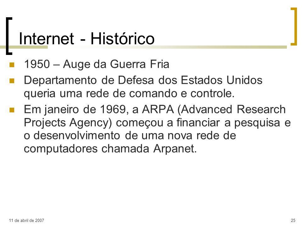 11 de abril de 200725 Internet - Histórico 1950 – Auge da Guerra Fria Departamento de Defesa dos Estados Unidos queria uma rede de comando e controle.