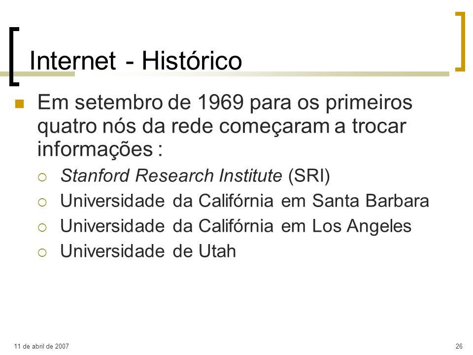 11 de abril de 200726 Internet - Histórico Em setembro de 1969 para os primeiros quatro nós da rede começaram a trocar informações : Stanford Research
