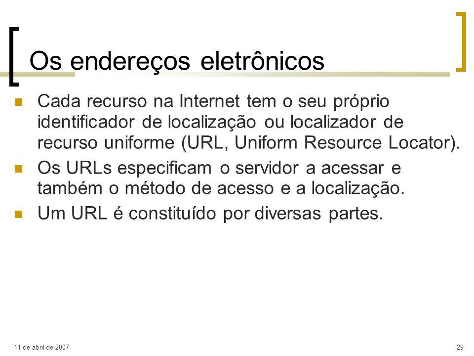 11 de abril de 200729 Os endereços eletrônicos Cada recurso na Internet tem o seu próprio identificador de localização ou localizador de recurso unifo