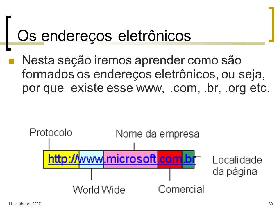 11 de abril de 200730 Os endereços eletrônicos Nesta seção iremos aprender como são formados os endereços eletrônicos, ou seja, por que existe esse ww