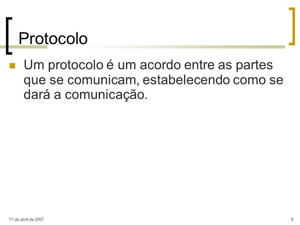 11 de abril de 20078 Protocolo Um protocolo é um acordo entre as partes que se comunicam, estabelecendo como se dará a comunicação.