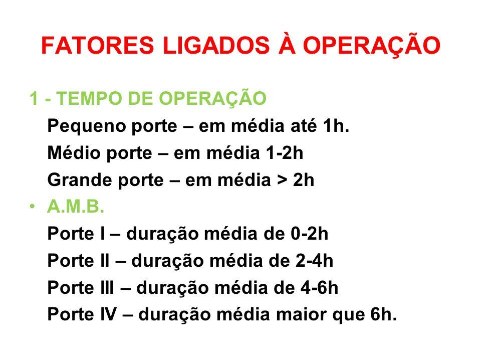 FATORES LIGADOS À OPERAÇÃO 1 - TEMPO DE OPERAÇÃO Pequeno porte – em média até 1h.