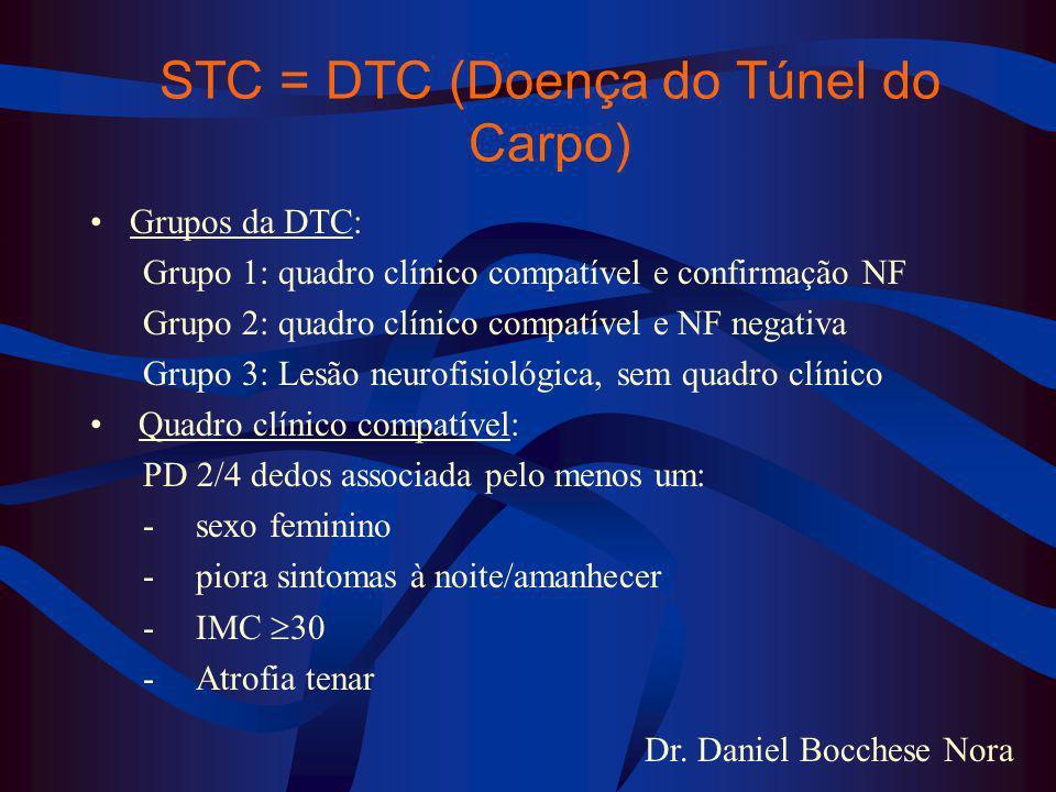 Dr. Daniel Bocchese Nora STC = DTC (Doença do Túnel do Carpo) Grupos da DTC: Grupo 1: quadro clínico compatível e confirmação NF Grupo 2: quadro clíni