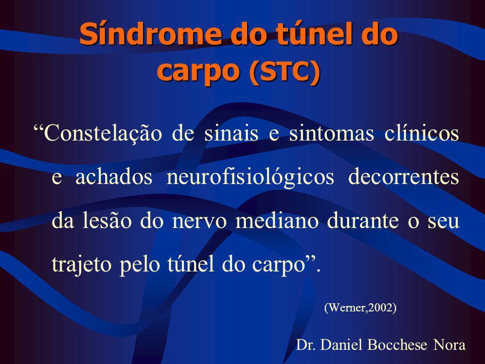 Dr. Daniel Bocchese Nora Síndrome do túnel do carpo (STC) Constelação de sinais e sintomas clínicos e achados neurofisiológicos decorrentes da lesão d