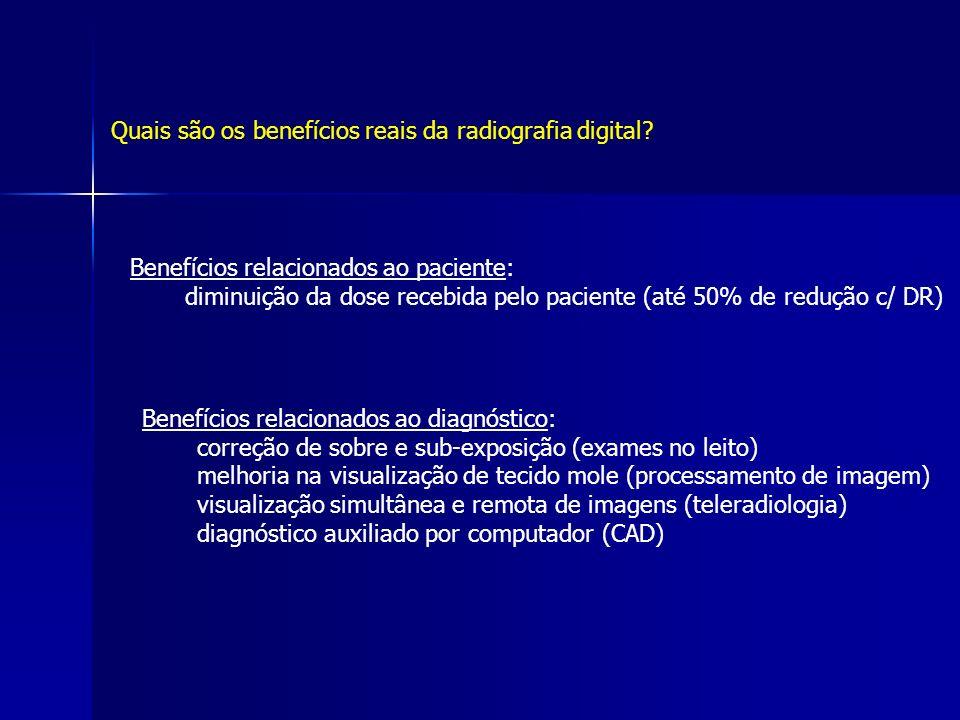 Quais são os benefícios reais da radiografia digital? Benefícios relacionados ao paciente: diminuição da dose recebida pelo paciente (até 50% de reduç