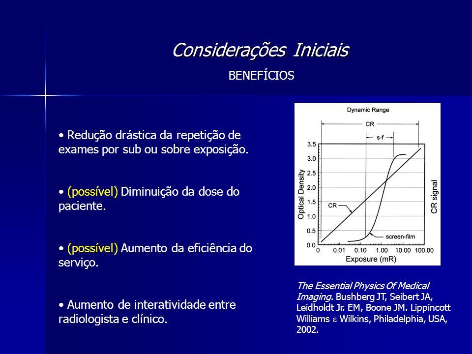 Considerações Iniciais BENEFÍCIOS Redução drástica da repetição de exames por sub ou sobre exposição. (possível) Diminuição da dose do paciente. (poss