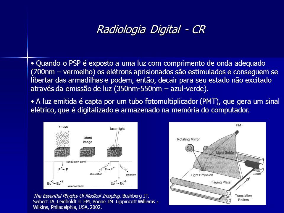 Radiologia Digital - CR Quando o PSP é exposto a uma luz com comprimento de onda adequado (700nm – vermelho) os elétrons aprisionados são estimulados